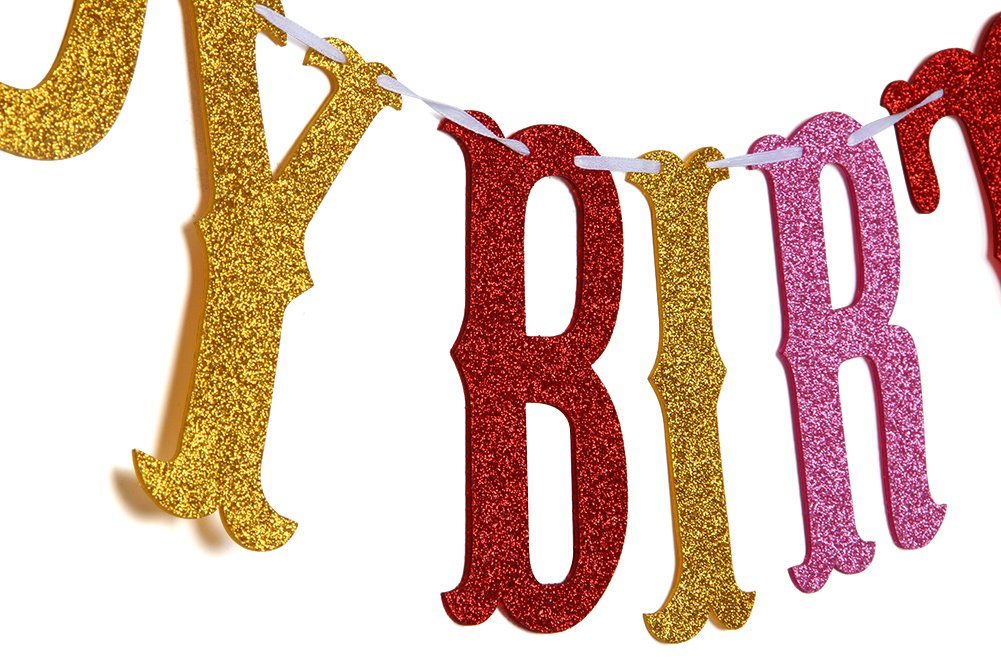 Boy or Girl 1st 2nd 3rd Birthday Party Decorations Supplies Karoo Jan Tri-Color Happy Birthday Banner Kids Party