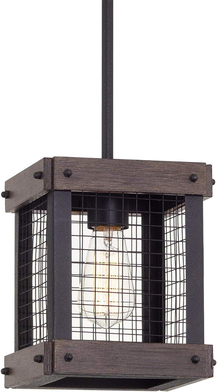 "Kira Home Davenport 9"" 1-Light Modern Farmhouse Pendant Light, Metal Wire Cage Hanging Lantern, Textured Black + Walnut Style Wood Finish"