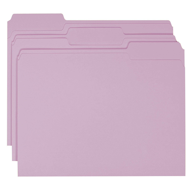 Smead File Folder, 1/3-Cut Tab, Letter Size, Lavender, 100 per Box 2-Pack