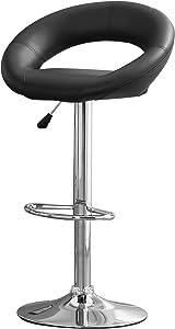 Furniture of America Trent Leatherette Adjustable Bar Stool, Black, Set of 2