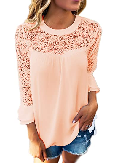 Blusa Mujer Elegantes Camisas Chiffon Manga Largo Moda Fashionista Camisas Encaje Primavera Otoño Cuello Redondo Colores Sólidos Splice Casuales Shirts: ...