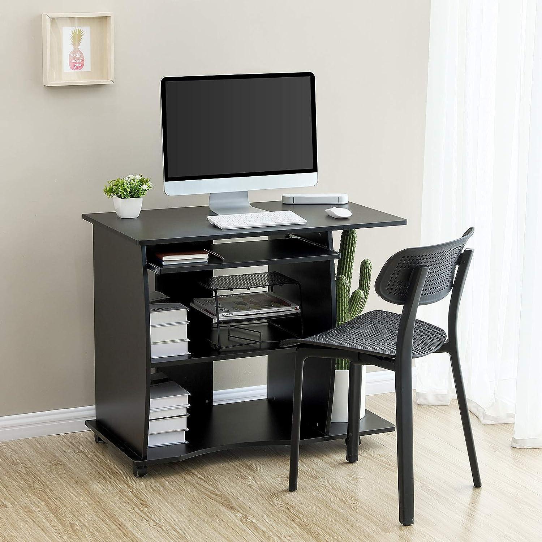 VASAGLE Mesa de Ordenador con Portateclado, 4 Ruedas, Escritorio de la Computadora, Escritorio para Hogar u Oficina, 90 x 50 x 75 cm, Negro LCD751B