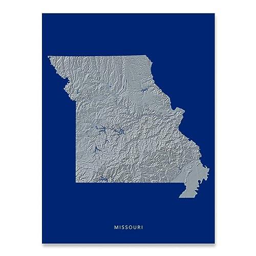 Amazon.com: Missouri State Map Print, MO, Navy Blue, Black and White ...