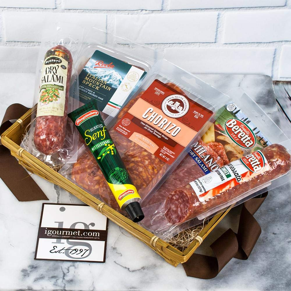 igourmet Assortment of Specialty Gourmet Meats in a Gift Box - Meats from around the world - With Cured Chorizo, hearty Sopressata, Milano Salam, Busseto, Salami, and flavorful Italian Speck