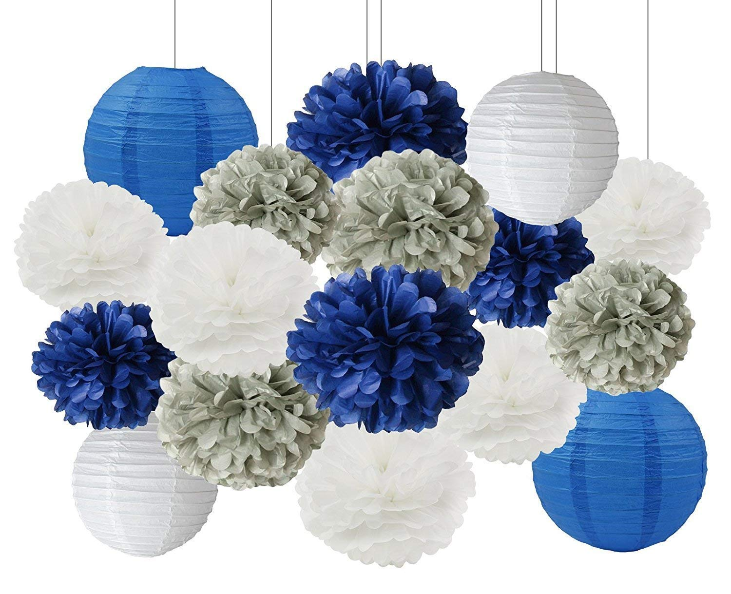 Furuix Bridal Shower Decorations 16 Pcs White Navy Blue Grey 10inch 8inch Tissue Paper Pom Lanterns Mixed Package For Themed Party Baby