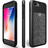 """ZVEpower Shockproof Case Compatible iPhone 7 Plus, iPhone 8 Plus Shockproof Bling Case Slim Crystal Detachable TPU Rubber Cover Apple iPhone 7 Plus (iPhone 7 Plus 8 Plus 5.5"""" Black)"""