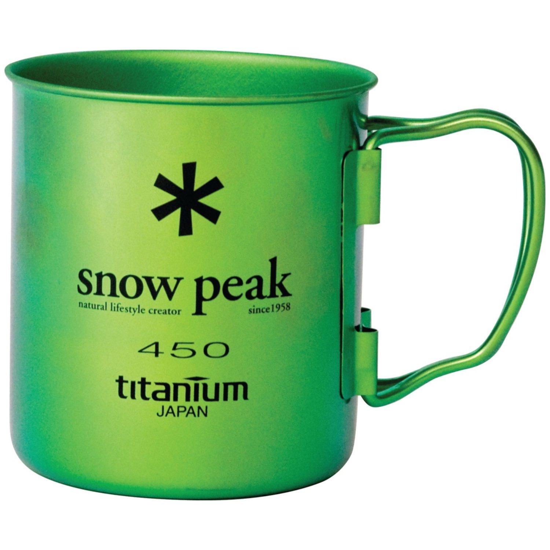 Snow PeakチタンSingle Wall Cup 450 – グリーン – 2パック B00JI7A77C