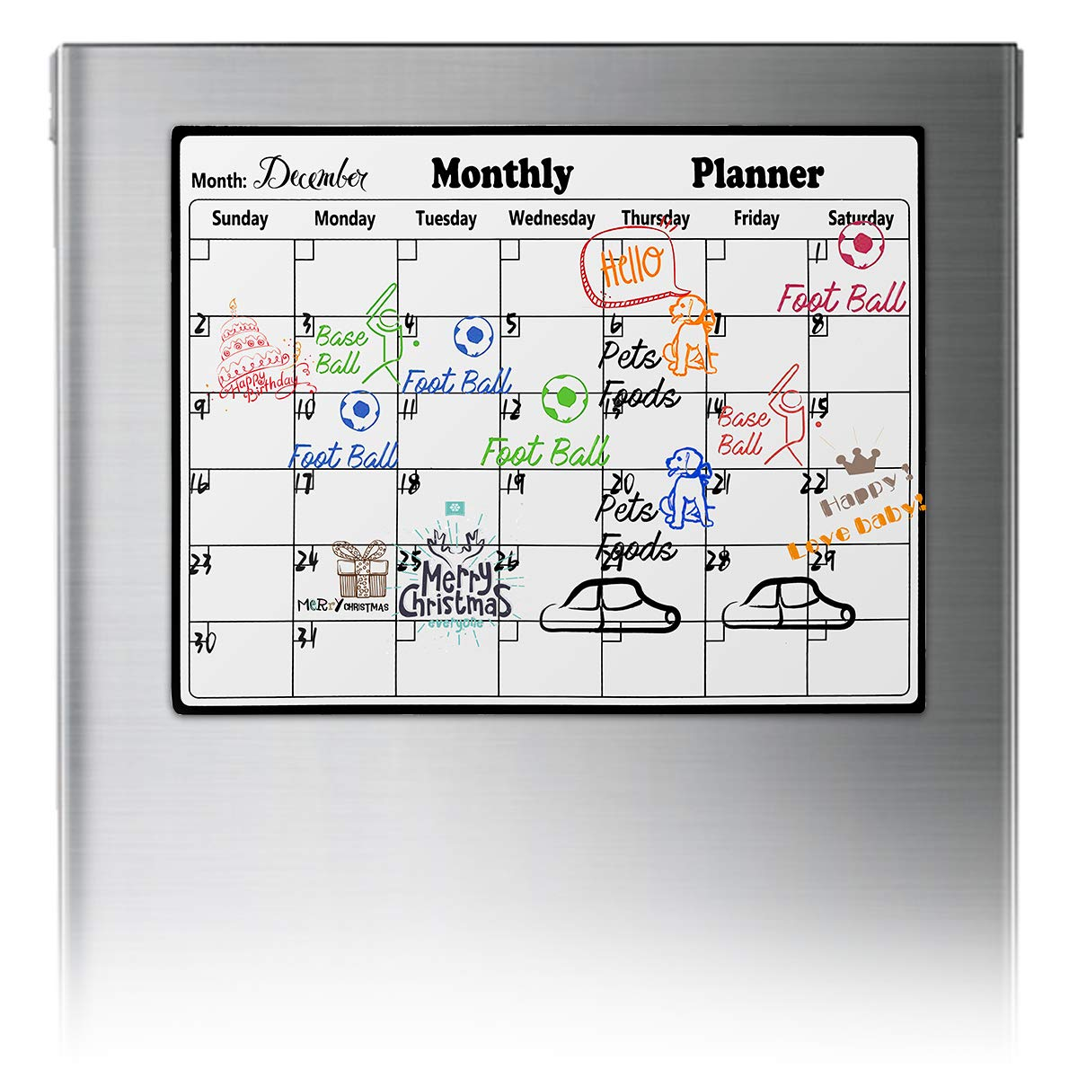 Dry Erase Calendar Fridge Magnetic Calendar Large White Board Planner Monthly Weekly Erasable Calendar for Kitchen Refrigerator