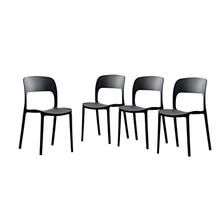Great Deal Furniture 306522 Dean Outdoor Plastic Chairs Set of 4 , Black