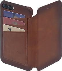 StilGut Book Type Premium vintage, étui en cuir porte-cartes pour iPhone 7 Plus, cognac antique