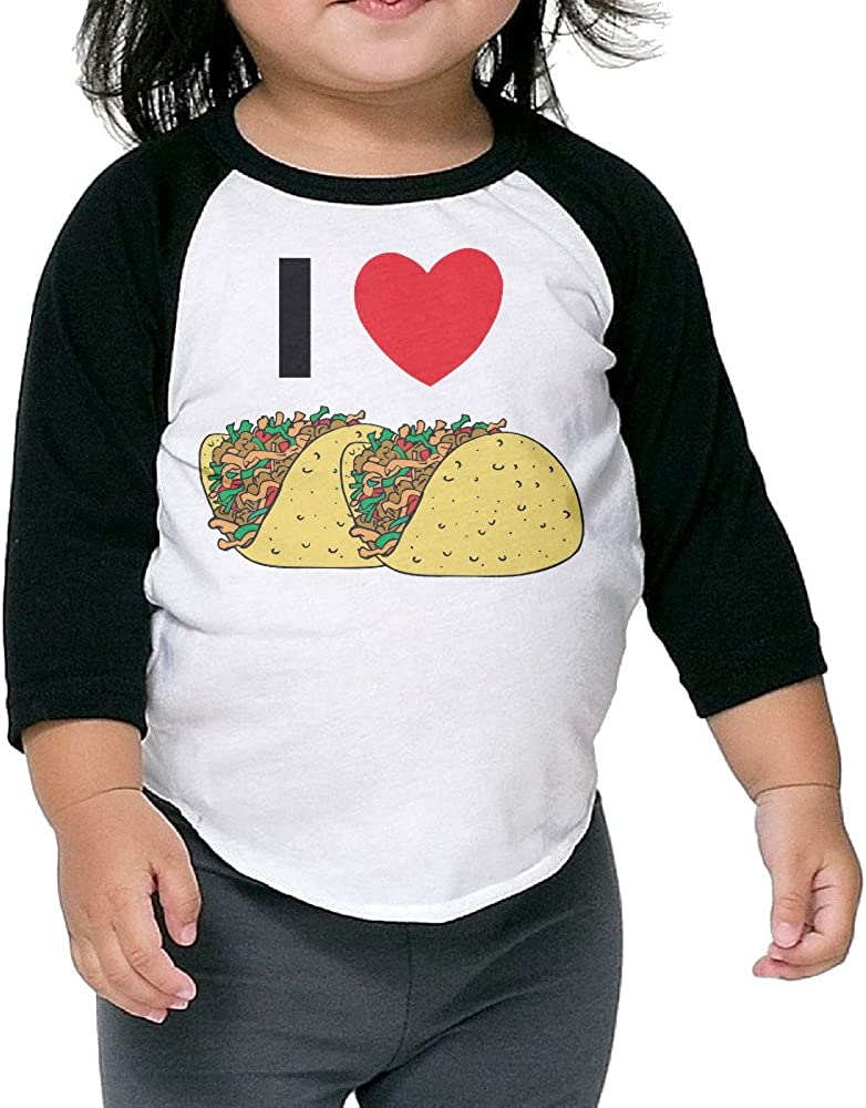 Kids I Love Tacos Cute 3//4 Sleeve Plain Raglan T Shirt Baseball Vintage Tops