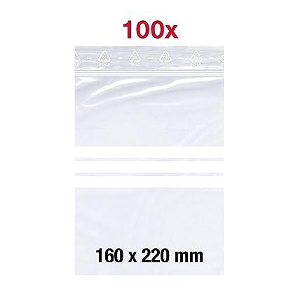 Flachbeutel Set Gefrierbeutel LDPE Transparent ZipLock DIN A6 50 m/µ Stark mit Beschriftungsfeld 120x170 mm Lebensmittelecht 100 X Druckverschlu/ßbeutel