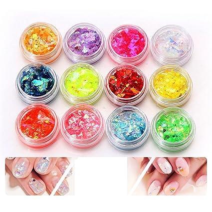 12 colores UV Gel uñas arte Glitter polvo consejos decoración Shimmer acrílico manicura polaco DIY pegatinas