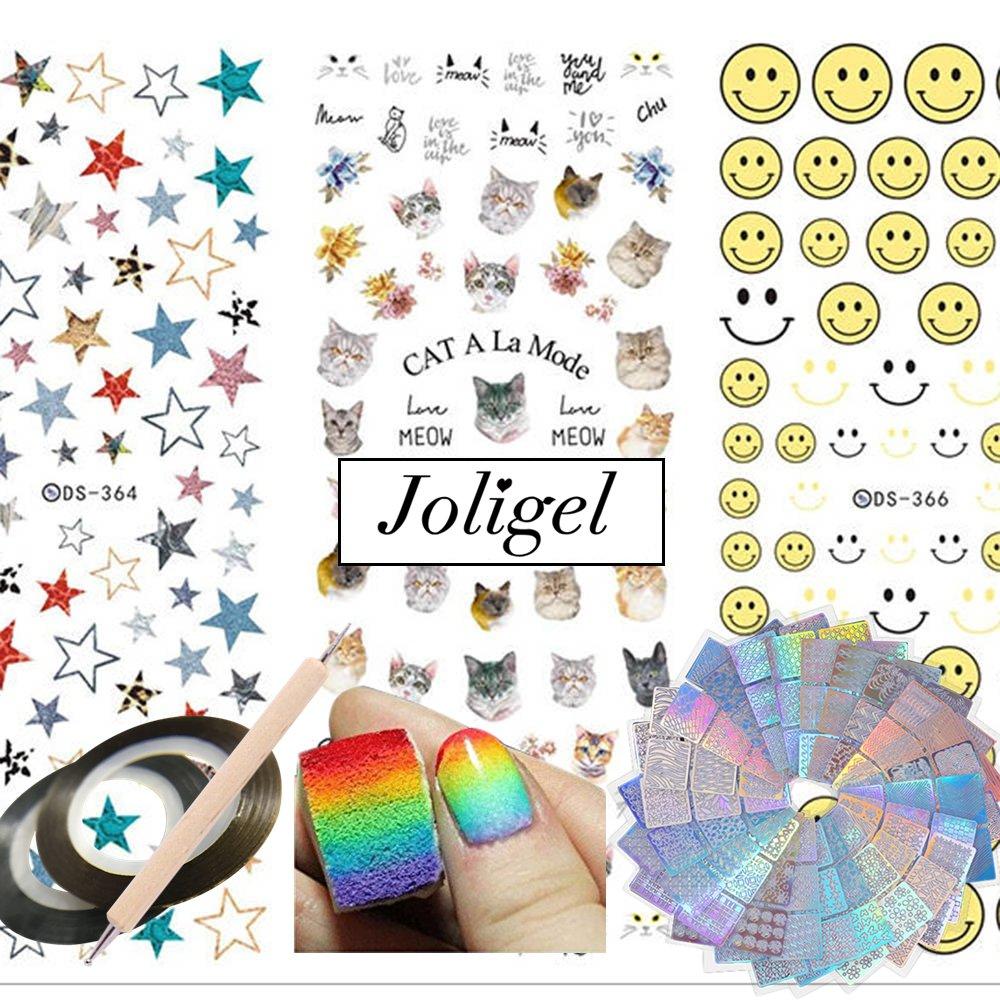 Joligel Kit Decoración Uñas, 72 Diseños Plantillas Vinilo Adhesivas Uñas + 5 Esponjas + Calcomanías Pegatinas Adhesivas al Agua 3 Hojas + Hilos Dorados + ...