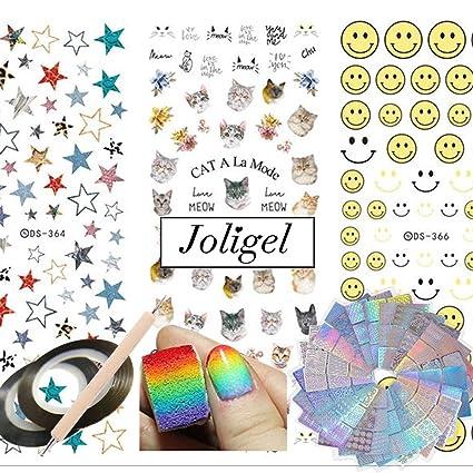 Joligel Kit Decoración Uñas, 72 Diseños Plantillas Vinilo Adhesivas Uñas + 5 Esponjas + Calcomanías
