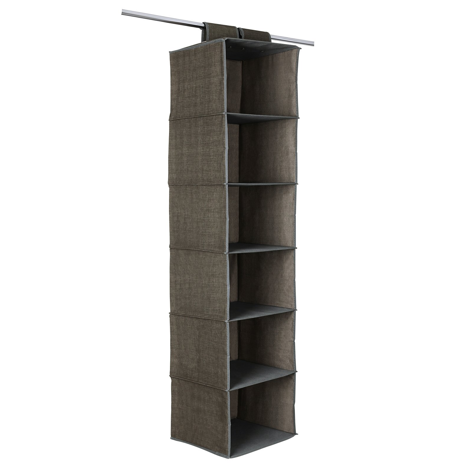 SONGMICS 6-Shelf Hanging Closet Organizer Sturdy Collapsible Storage Shelves for Clothes and Shoes Light Brown URCH08K