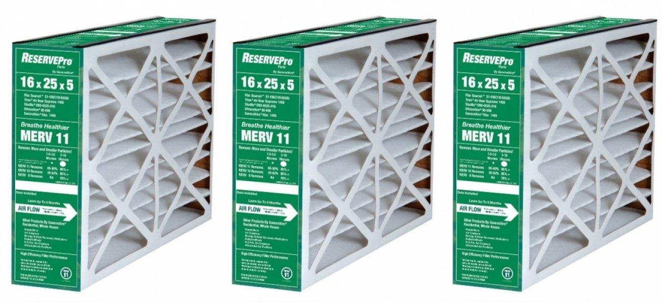 3-Pk  ReservePro  4511 Air Filter - 16x25x5- Actual Size= 15 5/8 x 24 3/16 x 4 15/16