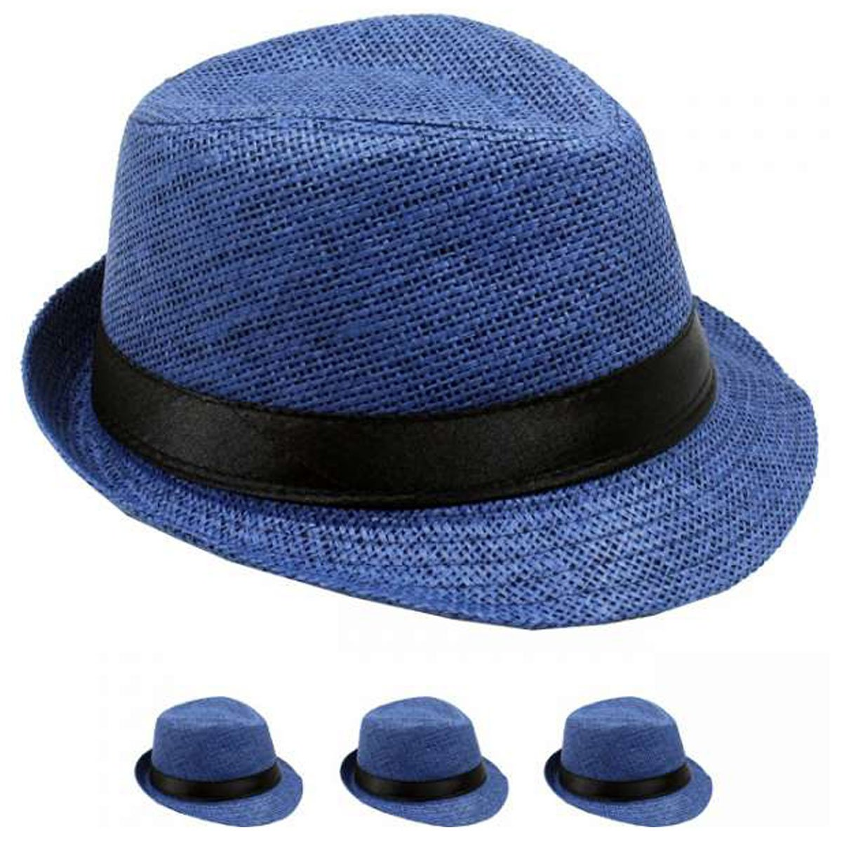 List A Banded Straw Fedora Hat for Kids Trilby Gangster Panama Classic Vintage Short Brim Style (Navy)