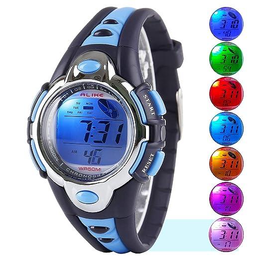 Reloj Digital Deportivo, relojes para niños y niñas resistentes al agua y actividades al aire libre, reloj de pulsera con alarma, color azul: Amazon.es: ...
