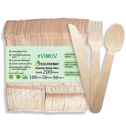 VIMOV 200 Pieza Cubiertos de Madera Desechables, Utensilios Biodegradables para Fiestas, Camping, Picnic