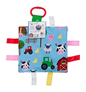 """Baby Sensory Crinkle & Teething Square Lovey Toy with Closed Ribbon Tags for Increased Stimulation: 8""""X8"""" (Farm Friends)"""