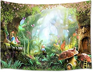 HVEST Fairy Tale Forest Tapestry Wall Hanging Magic Mushroom and Trees Wall Tapestry Spring Scenery Tapestry for Kids Girls Bedroom Living Room Dorm Party Decor, 80Wx60H inches