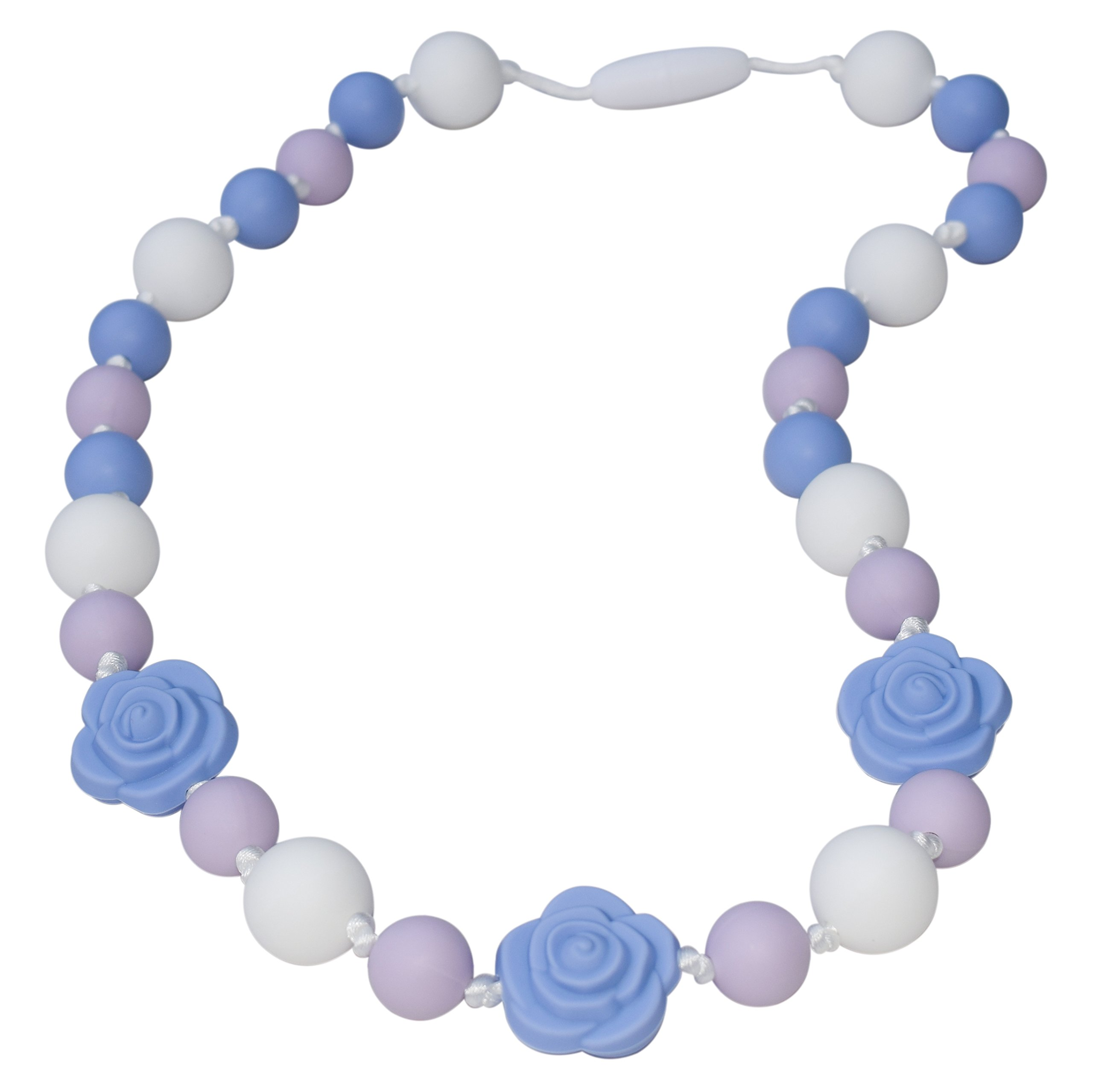 Sensory Oral Motor Aide Chewelry Necklace - Chewy Jewelry for Sensory-Focused Kids with Autism or Special Needs - Calms Kids and Reduces Biting/Chewing - Roses (Lavender/White/Blue)