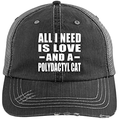 7e3d01a20 Amazon.com: All I Need is Love and A Polydactyl Cat - Distressed Trucker Cap  Black/Grey / One Size, Golf Baseball Hat: Clothing