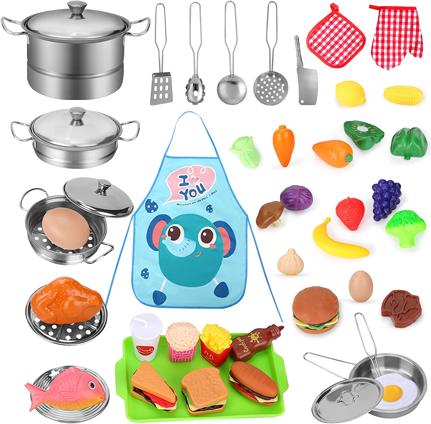 Play Kitchen Accessories 46Pcs, Toy Pots and Pans for Kids Kitchen, Kids Cooking Sets with Cute Play Foods, Kids Apron for 3 4 5 6 7 Year Old Girls Boys