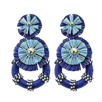 e6a2d643eed64 Amazon.com: Panacea Raffia Statement Earring, Blue, One Size: Jewelry