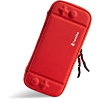 tomtoc Ultra Slim Carrying Case Fit for Nintendo Switch, Original Patent Portable Hard Shell Travel Case Pouch Protective Cover, 8 Game Cartridges, Military Level Protection, Red