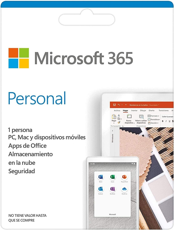 Microsoft 365 Personal | Suscripción anual o mensual | Para 1 PC o Mac, 1 tableta incluyendo iPad, Android, o Windows, además de 1 teléfono
