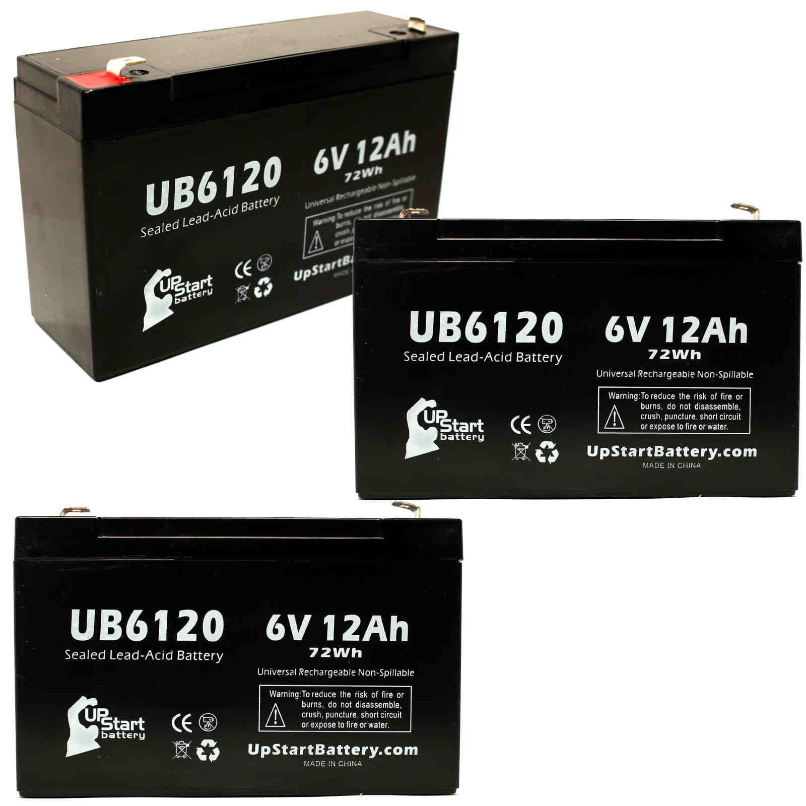 3 Pack Replacement for Tripp-Lite BCPRO1050 Battery - Replacement UB6120 Universal Sealed Lead Acid Battery (6V, 12Ah, 12000mAh, F1 Terminal, AGM, SLA) - Includes 6 F1 to F2 Terminal Adapters