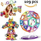109 Pieces Magnet TilesToy, Magnetic Building Blocks Setsfor Kids Toddler, Creativity Beyond Imagination, Inspirational, Recreational, Educational for Boys Girls