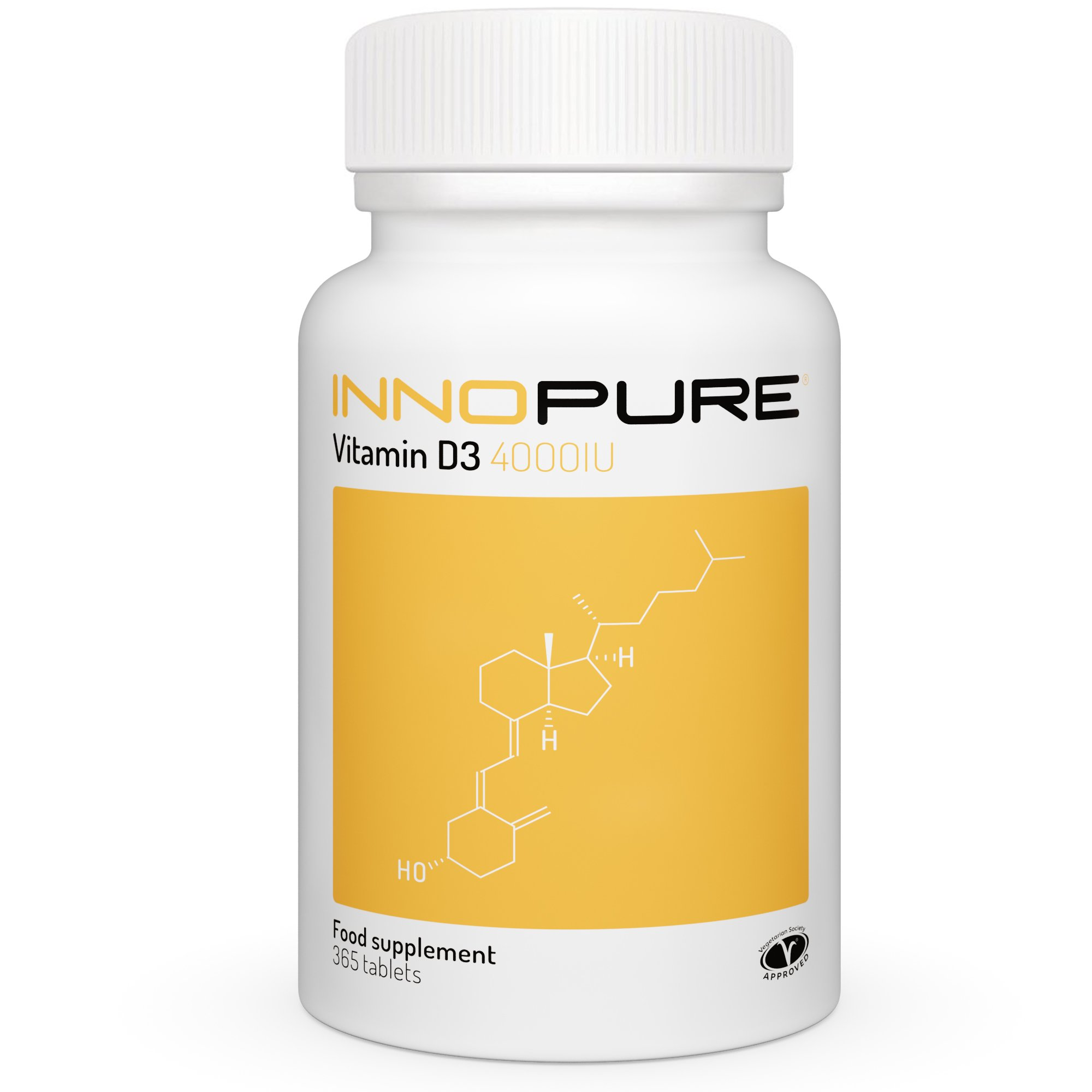 Innopure Vitamin D3 4,000 IU | Vegetarian Society Approved | 1 Year Supply 365 Tablets product image
