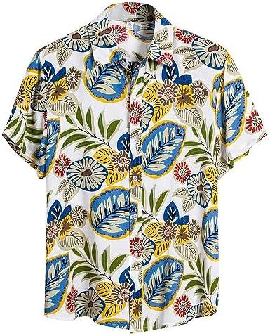 LANSKIRT Camisa Hawaiana Hombre, Camisas Flores Étnica de Lino y ...