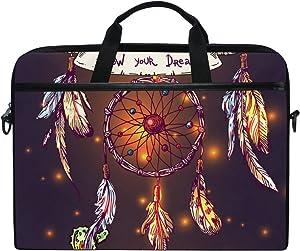 JSTEL Beautiful Boho Style Dreamcatcher Laptop Shoulder Messenger Bag Case Sleeve for 14 inch to 15.6 inch with Adjustable Notebook Shoulder Strap