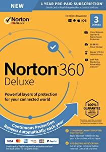 Norton 360 Deluxe – Antivirus Software for 3 Devices with Auto Renewal - Includes VPN, PC Cloud Backup & Dark Web Monitoring powered by LifeLock - 2020 Ready [Key Card]