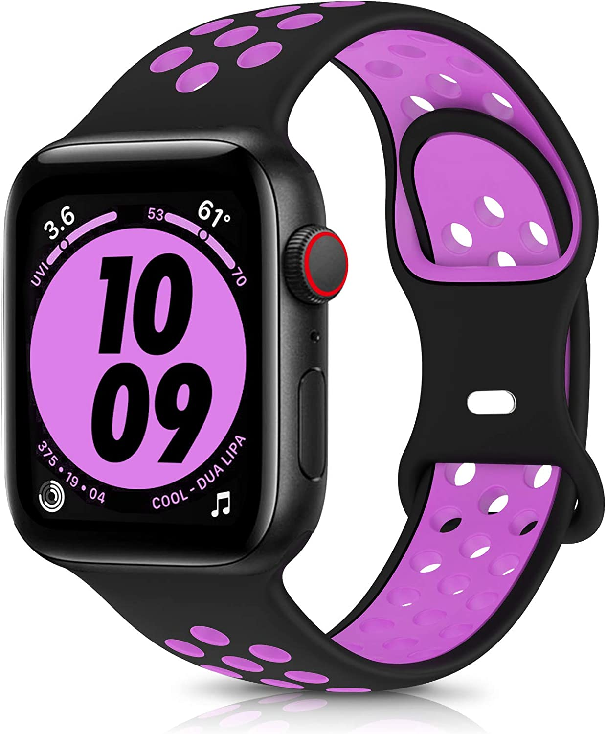 OYODSS Sport Bands Compatible with Apple Watch Band 38mm 40mm 42mm 44mm, Breathable Soft Silicone Replacement Wristband Strap Compatible with iWatch Series 6 5 4 3 2 1 SE Women Men Black&Purple