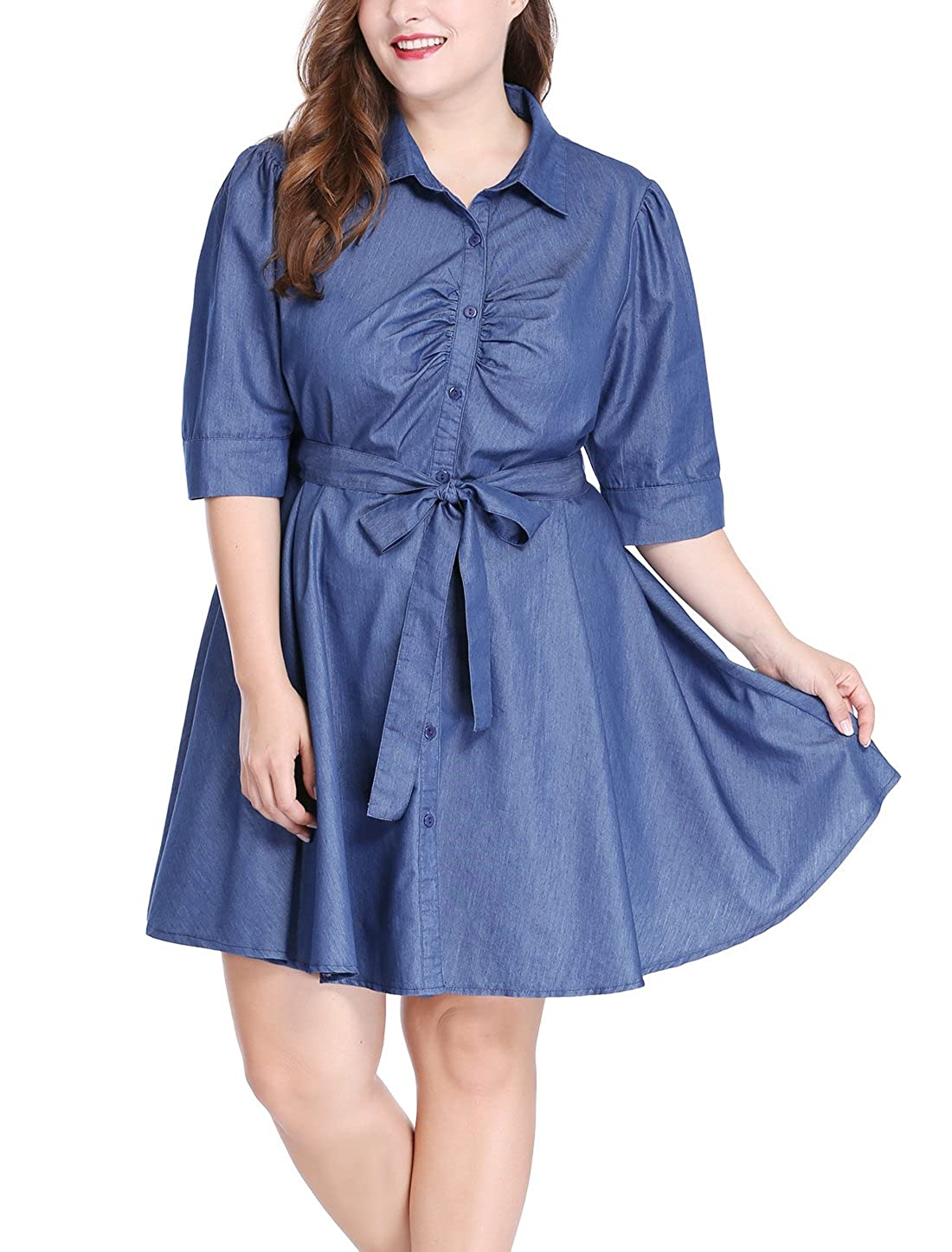 uxcell Women's Plus Size 1/2 Sleeves Belted Above Knee Denim Shirt Dress 3X Blue a16120100ux0618