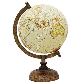 decorative rotating beige ocean globe table decor earth geography world - Decorative Globe