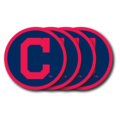 new product 30df0 5b3b7 MLB Cleveland Indians Vinyl Coaster Set (Pack of 4)