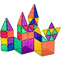 Playmags Award Winning Clear Colors Magnetic Tiles Building Set 50 + 6 Pc Set with Car - STEM Magnetic Toys Develop…