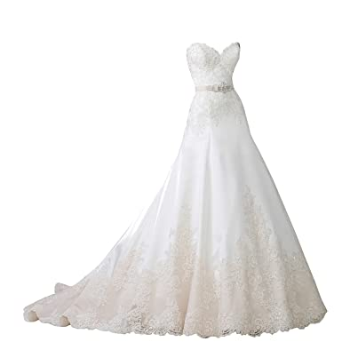 Mylilac Women\'s Strapless Sorded Lace Tulle And Satin A-line Wedding ...