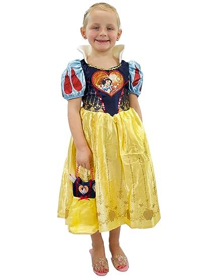 Disney Disfraz Vestido y Bolso para Niñas Blancanieves Amarillo 7-8 Años