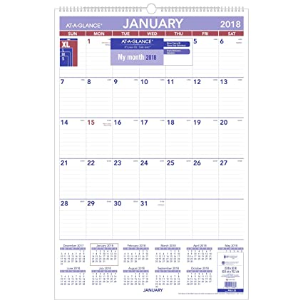 at a glance pm428 18 monthly wall calendar january 2018 december