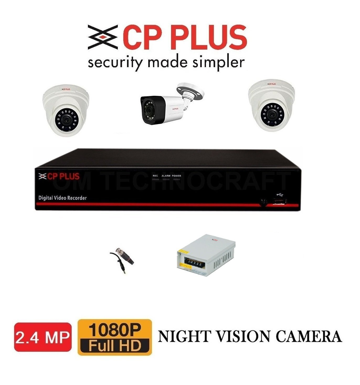 Milestone CP Plus 8CHNL 2.4MP DVR With 2.4MP Dome 2PCS And
