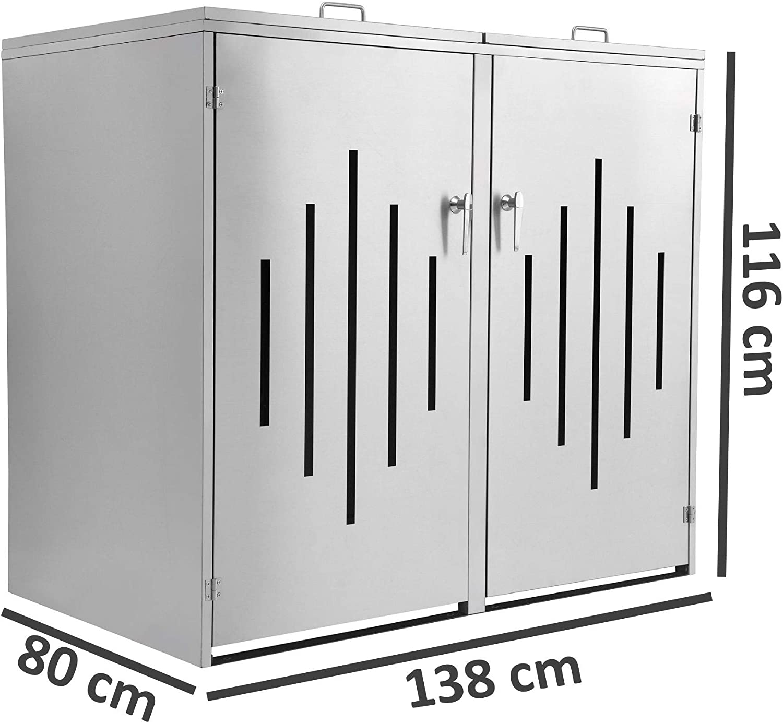 M/ülltonnenverkleidung mit 2 Klappdeckel abschlie/ßbar Metall M/üllbox Zelsius Edelstahl M/ülltonnenbox Stripes f/ür 2 M/ülltonnen je 120 und//oder 240 Liter