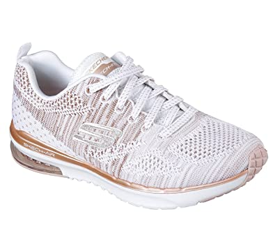 51307002a6a6 Skechers Air Infinity Stand White and Rose Gold Lace Up Shoe  Amazon.co.uk   Shoes   Bags