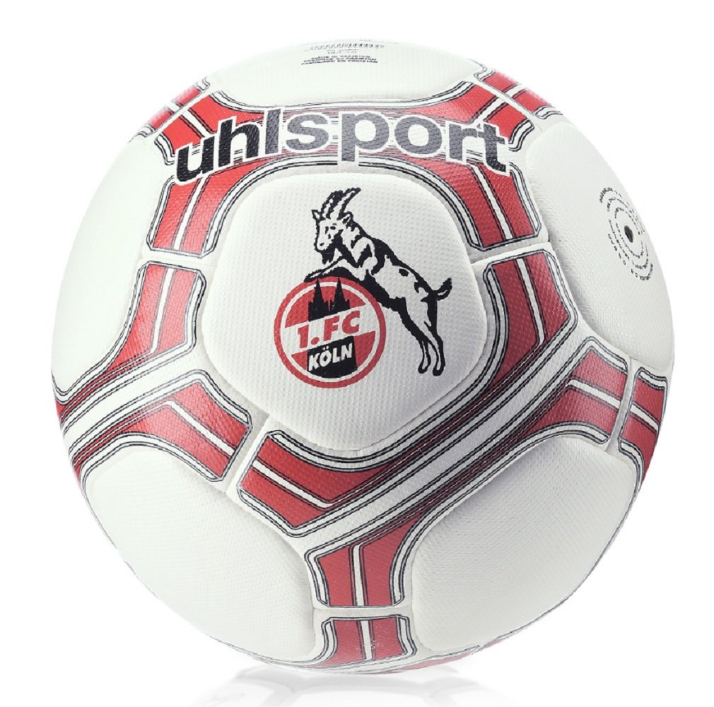 1. FC Köln uhlsport Fan Ball, Deutsche Bundesliga, Color Blanco/Rojo, Tamaño 5: Amazon.es: Deportes y aire libre